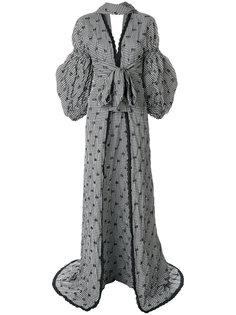 платье макси в клетку с пышными рукавами  Jonathan Simkhai