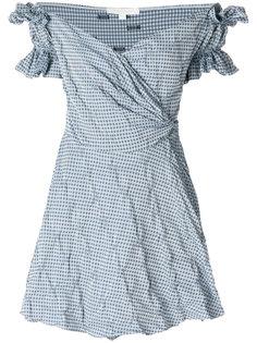 платье мини в клетку с запахом и открытыми плечами  Jonathan Simkhai