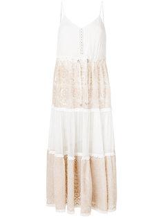 ярусное платье макси с вышивкой  Jonathan Simkhai