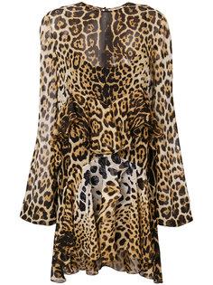 платье шифт с леопардовым принтом  Saint Laurent
