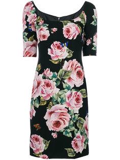 облегающее платье с принтом роз Dolce & Gabbana
