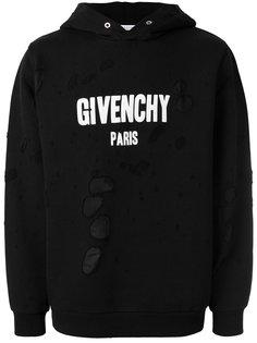 толстовка с принтом-логотипом и потертой отделкой Givenchy