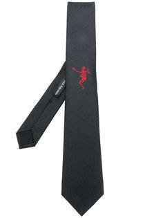 галстук с вышивкой скелета Alexander McQueen