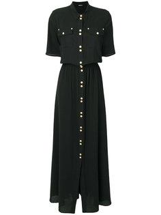 платье-рубашка с декоративными пуговицами Balmain