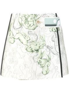 мини юбка с принтом кроликов Prada