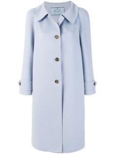 однобортное пальто на пуговицах  Prada