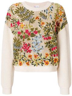 свитер с цветочной вышивкой  Red Valentino
