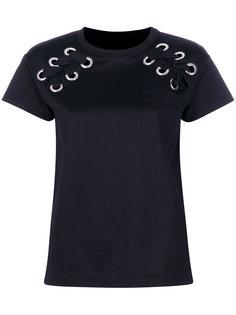 футболка со шнуровкой на рукавах  Sacai