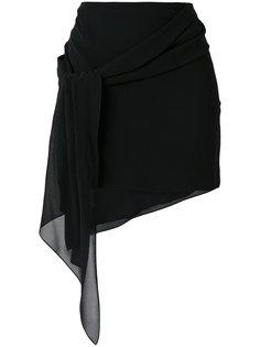 асимметричная драпированная мини-юбка  Saint Laurent