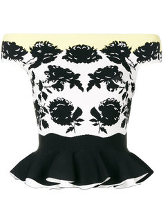 топ с цветочным принтом и открытыми плечами  Alexander McQueen