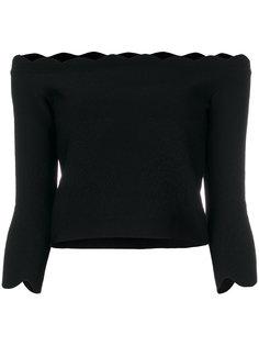 топ с открытыми плечами и фигурным краем  Alexander McQueen