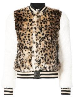леопардовая куртка-бомбер с искусственным мехом Mother