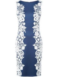 приталенное платье с цветочной вышивкой Tadashi Shoji