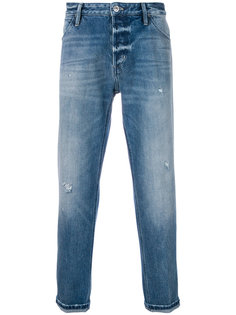 джинсы прямого кроя с потертой отделкой Pt05