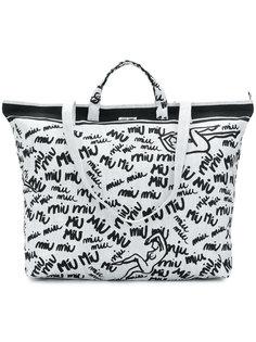 сумка-тоут с логотипом  Miu Miu