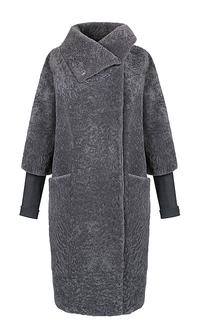 Шуба из овчины с трикотажными митенками Virtuale Fur Collection