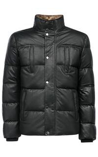 Куртка из натуральной кожи с отделкой мехом енота Jorg Weber
