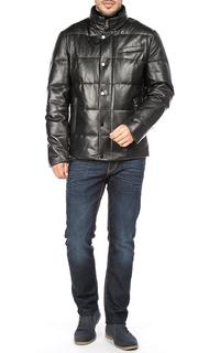 Мужская куртка из натуральной кожи на искусственном пуху с отделкой мехом бобра Al Franco
