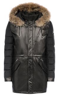 Комбинированная куртка из натуральной кожи с отделкой мехом енота Al Franco