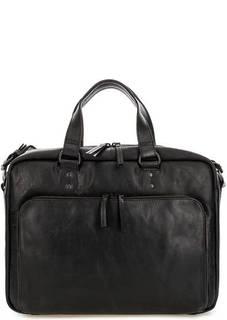 Вместительная кожаная сумка с карманами Aunts & Uncles