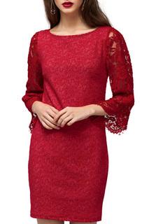 Полуприлегающее платье с кружевными рукавами VILATTE