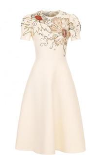 Приталенное платье-миди с декорированным лифом Valentino