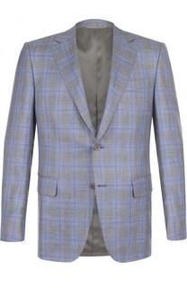 Однобортный пиджак из смеси шерсти и льна с шелком Canali
