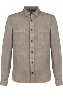 Льняная рубашка с накладными карманами Stone Island
