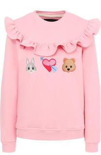 Хлопковый свитшот с вышивкой и оборкой Candyshop Russia
