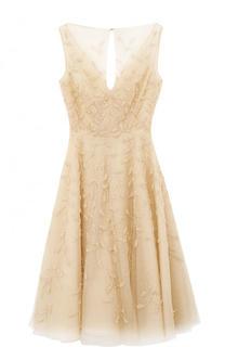 Приталенное миди-платье с декором Oscar de la Renta
