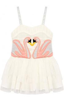 Хлопковое многослойное мини-платье с крыльями Stella McCartney