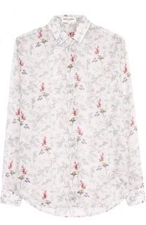 Хлопковая блуза свободного кроя с принтом Saint Laurent