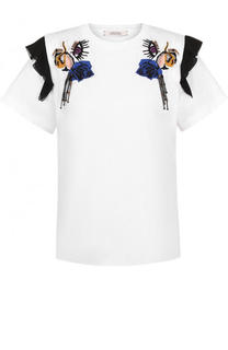 Хлопковая футболка с вышивкой и оборками Dorothee Schumacher