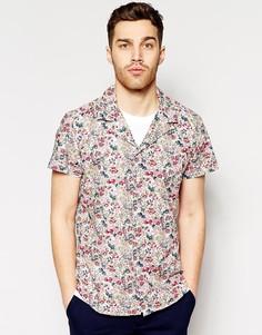 Приталенная рубашка с коротким рукавом и цветочным принтом Antony Morato - Розовый