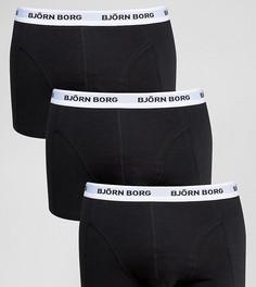 Набор из 3 черных боксеров-брифов с контрастным поясом Bjorn Borg - Черный