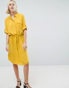 Платье-рубашка с рукавами 3/4 и шнурком Soaked In Luxury - Желтый