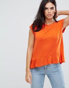 Топ с баской и подвернутыми рукавами Soaked In Luxury - Оранжевый