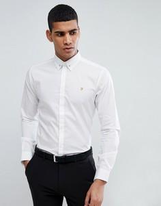 Эластичная приталенная рубашка с булавкой на воротнике Farah - Белый