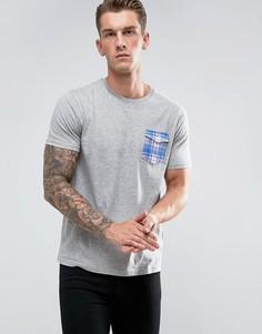 Футболка с карманом в клетку Brave Soul - Серый