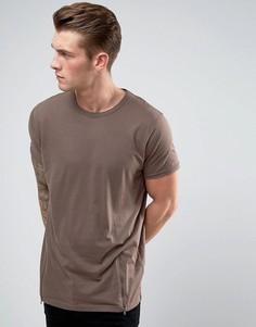 Удлиненная футболка c молниями по бокам Brave Soul - Коричневый