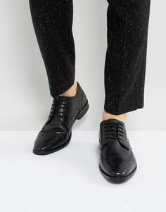 Черные кожаные оксфордские броги в строгом стиле Ben Sherman - Черный
