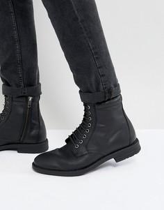 Черные ботинки на шнуровке в стиле милитари Kg By Kurt Geiger - Черный