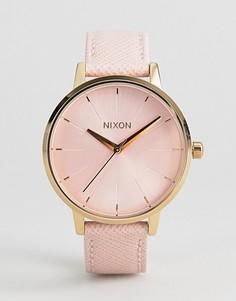 Часы с розовым кожаным ремешком Nixon Kensington - Розовый