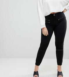 Черные байкерские джинсы с покрытием и завышенной талией ASOS CURVE SCULPT ME - Черный