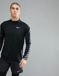 Черный свитшот с молнией и светоотражающей отделкой Nike Running 859199-010 - Черный