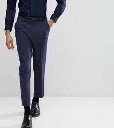 Темно-синие фактурные зауженные брюки с добавлением шерсти ASOS TALL - Темно-синий