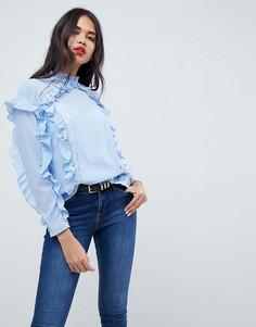 Блузка с кружевными вставками ASOS - Синий