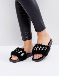 Меховые сандалии Truffle - Черный