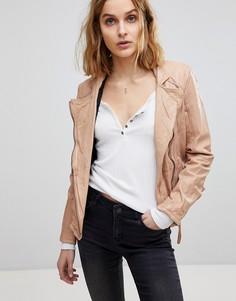 Кожаная байкерская куртка Muubaa Kendyll - Розовый