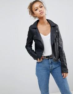 Байкерская куртка из искусственной кожи со шнуровкой на рукавах Brave Soul - Черный